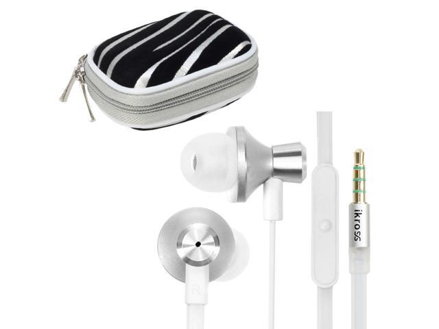 iKross White / White Metallic Silicone Earbud Stereo Headset with Microphone IKHS10W + Silver Zebra Bluetooth Headset Carrying Pouch Case Cover for Bluetooth Headset