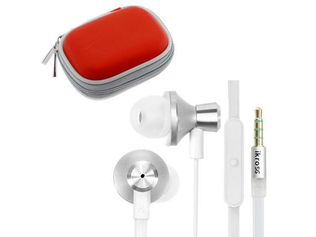 iKross White / White Metallic Silicone Earbud Stereo Headset with Microphone IKHS10W + Red Bluetooth Headset Carrying Pouch ...
