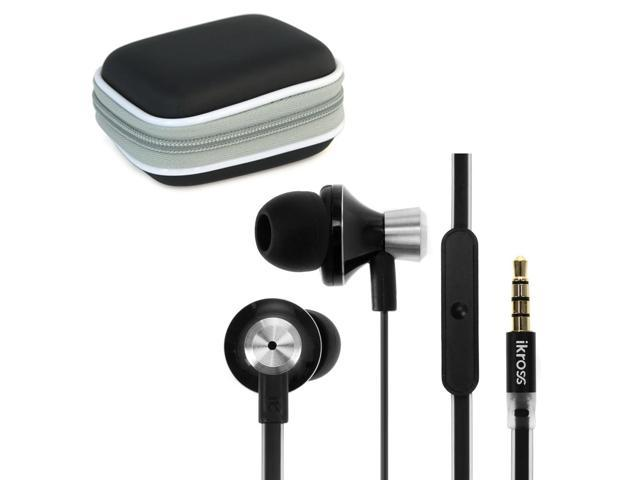 iKross 3.5mm Stereo Earbuds with Microphone + Black Accessories Carrying Case for New iPhone 5/5S & 5C, 4S and Smartphone, Tablet