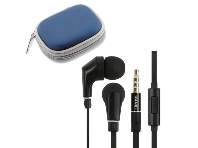 iKross In-Ear 3.5mm Noise-Isolation Stereo Earphones With Handsfree Microphone Headset (Black/ Black) + Blue Carrying Eva Case for Acer ICONIA B1-A71, Tablet Cellphone Smartphone & Mp3 player