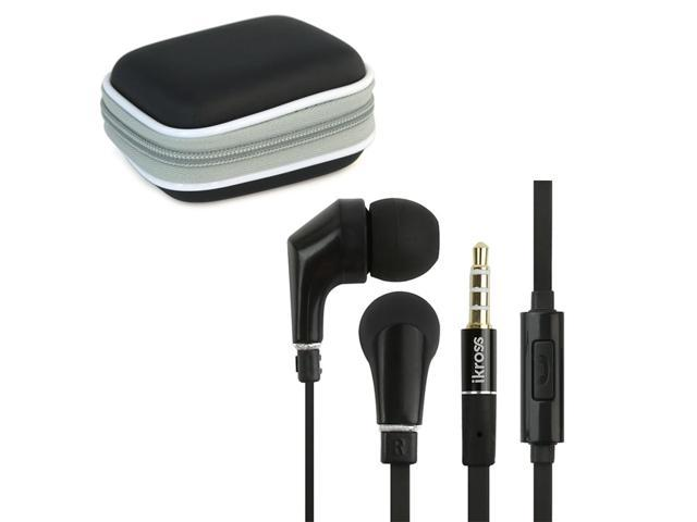 iKross In-Ear 3.5mm Noise-Isolation Stereo Earphones With Handsfree Microphone Headset (Black/ Black) + Black Carrying Eva Case for Samsung ATIV Smart PC Pro 700T, Tablet Cellphone & Mp3 player