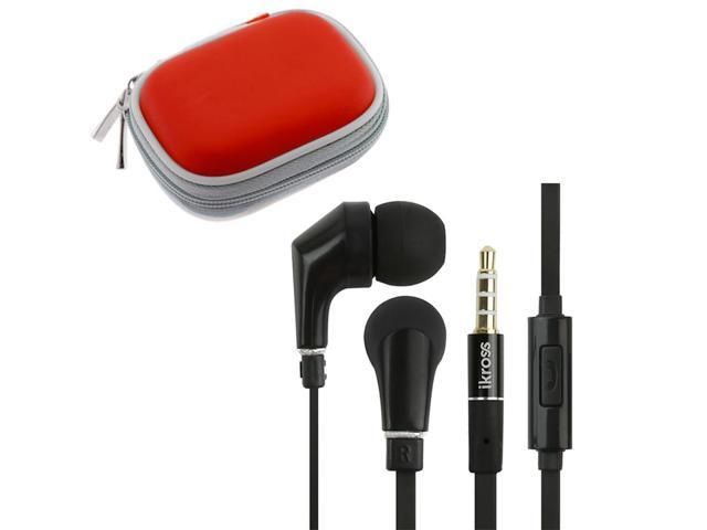 iKross In-Ear 3.5mm Noise-Isolation Stereo Earphones With Handsfree Microphone Headset (Black/ Black) + Red Carrying Eva Case for Nokia Lumia 822, Samsung, LG, HTC, Cellphone Tablet & Mp3 player