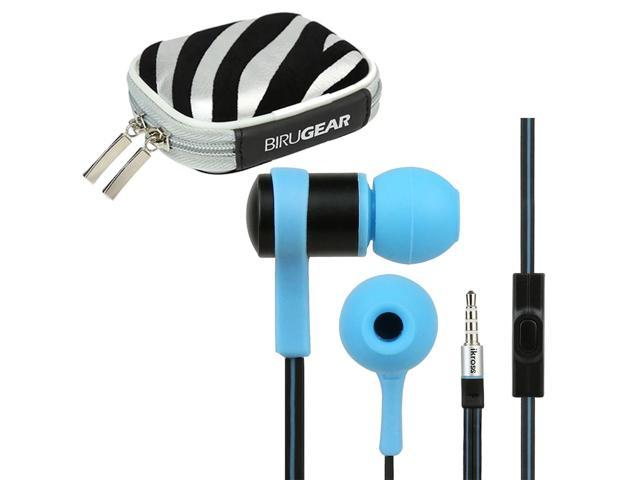 iKross Blue In-Ear 3.5mm Noise-Isolation Stereo Earbuds with Microphone + Silver Zebra Headset Case for LG Optimus G Pro, Optimus F3 MS659 / VM720 / LS720; Motorola Droid Maxx, Droid Ultra and more