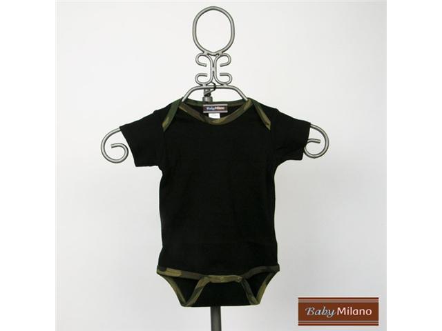 Baby Milano Camo Bodysuit in Black with Green Camo Trim