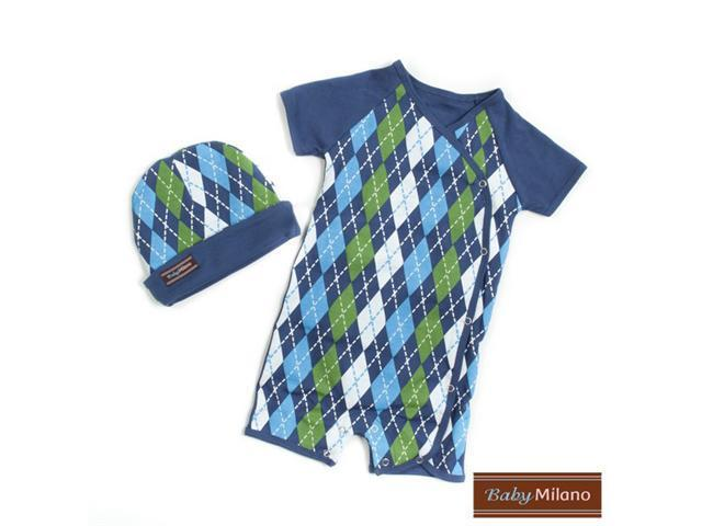 Baby Milano Blue Argyle Body Suit and Hat Gift Set