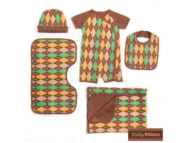 Baby Milano Brown Argyle 5 piece Baby Gift Set