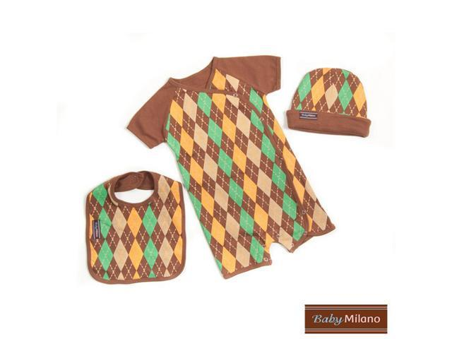 Baby Milano 3 piece Brown Argyle Baby Boy Gift Set