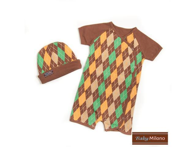 Baby Milano Brown Argyle Hat and Body Suit Set