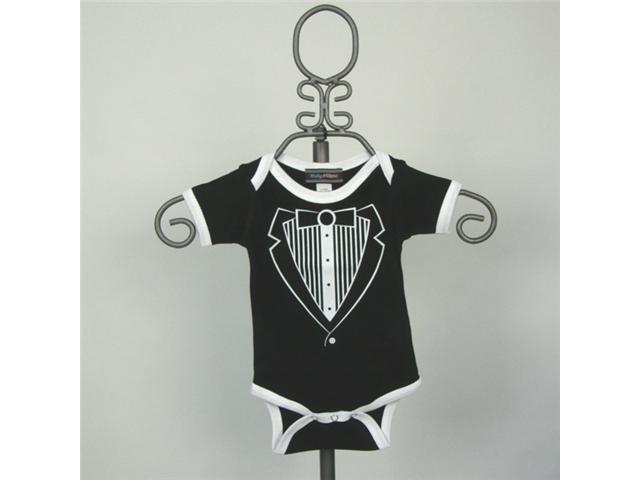 Baby Milano Short Sleeve Black Tuxedo Bodysuit with White Trim