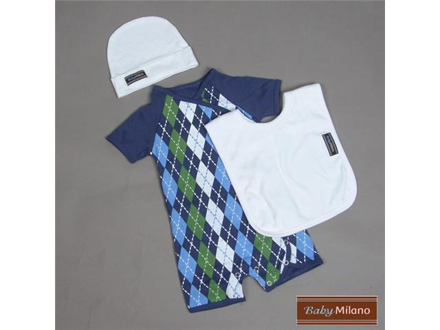 Baby Milano 3 piece Blue Argyle and White Baby Clothes Gift Set