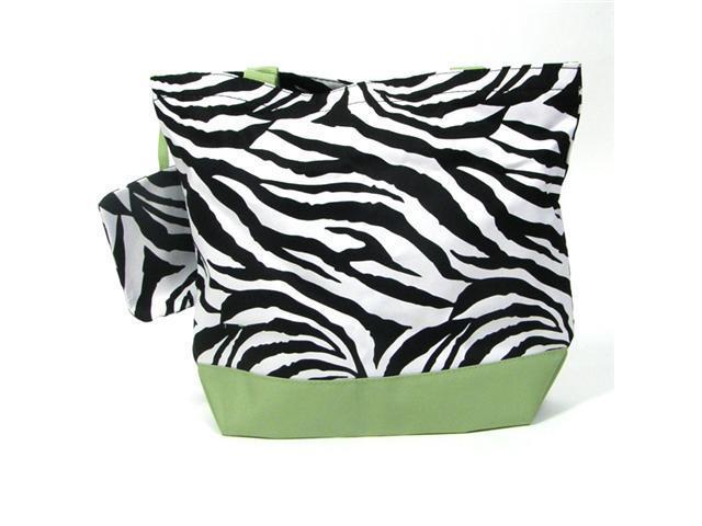Girl Diaper Bag in Lime & Zebra Print