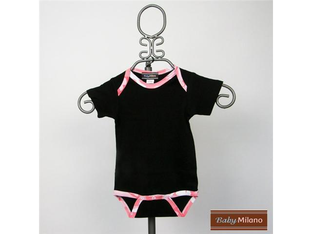 Baby Milano Camo Bodysuit in Black with Pink Camo Trim