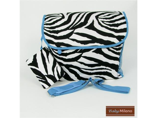 Zebra Diaper Bag in Turquoise Trim