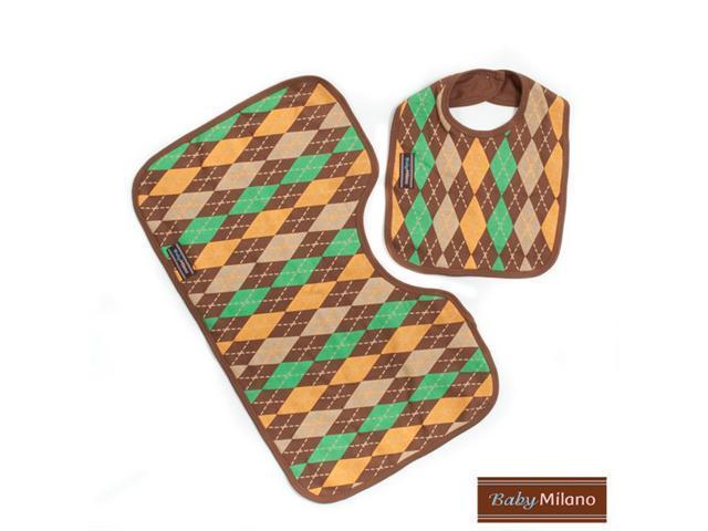 Baby Milano Brown Argyle Bib and Burp Cloth Set