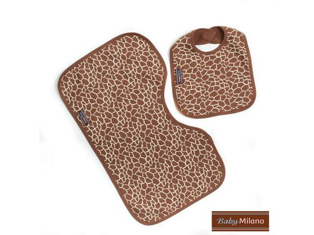 Baby Milano Giraffe Print Bib and Burp Cloth Set