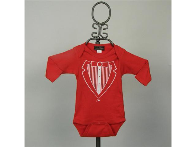 Baby Milano Long Sleeve Red Tuxedo Bodysuit