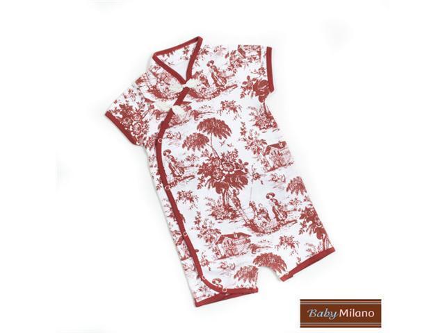 Baby Milano Toile Kimono Bodysuit in Burgundy and White
