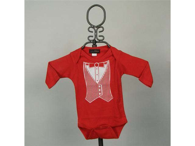 Baby Milano Long Sleeve Red Tuxedo Vest Bodysuit