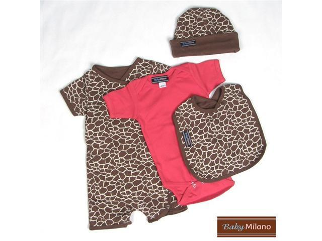 Baby Milano 4 piece Giraffe and Red Baby Clothes Gift Set