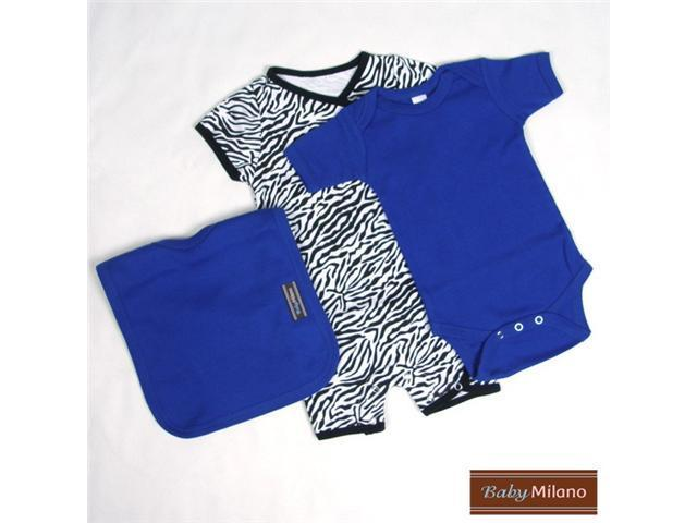 Baby Milano 3 piece Zebra and Blue Baby Outfit Gift Set