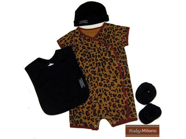 Baby Milano 4 piece Leopard and Black Baby Clothing Gift Set