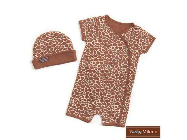 Baby Milano Giraffe Print Hat and Body Suit Set