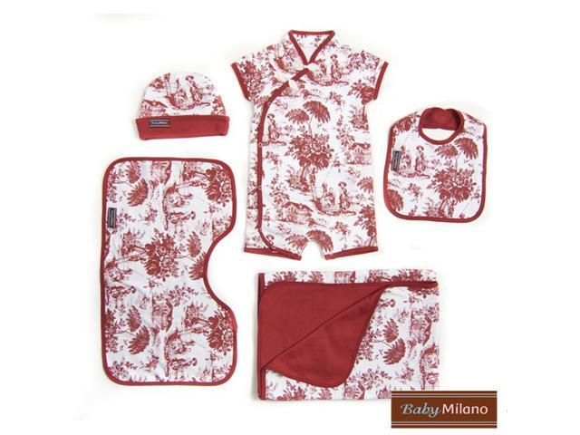 Baby Milano Burgundy Toile 5 piece Gift Set