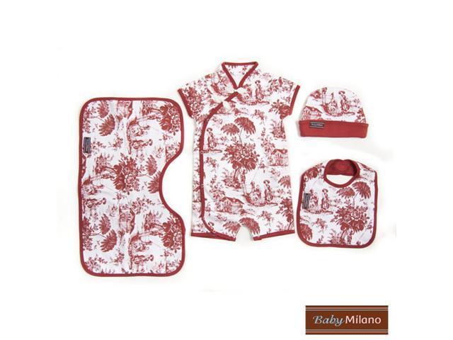 Baby Milano Burgundy Toile 4 piece Gift Set