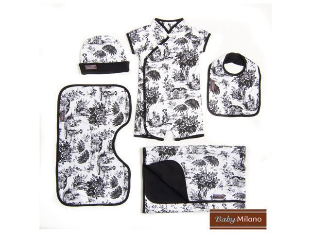 Baby Milano 5 piece Toile Gift Set in Black