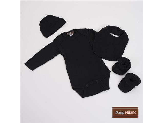 Baby Milano Solid Black Baby Clothes 4 piece Gift Set