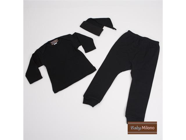 Baby Milano Black 3 piece Baby Outfit with knotted hat