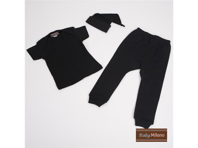Baby Milano Black Baby Shirt, Pants and Hat 3 piece Outfit