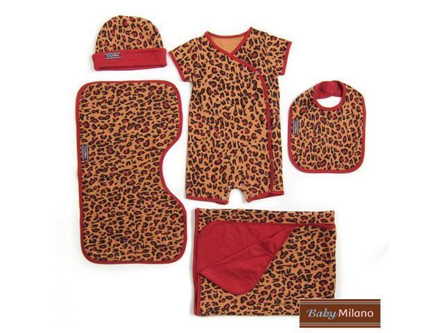 Baby Milano Leopard Print  5 piece Gift Set