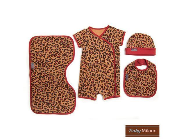 Baby Milano Leopard Print Baby Clothes 4 piece Gift Set