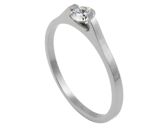 316L Stainless Steel Solitaire Tension Set CZ Ring