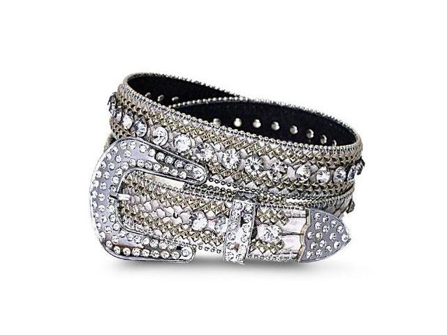 "Crystal Lined Studded Genuine Leather Belt-Color : Gray - Width: 1.2"" , Size : Small/Medium/Large (33.5""-38"",37""-43"").Overall ..."