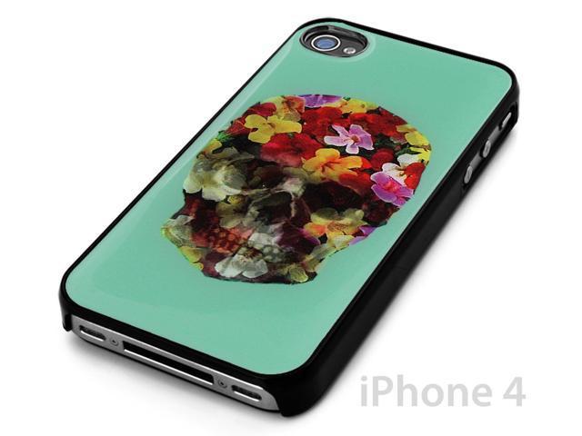 Black Snap-on Cover Case for iPhone 4/4s Flower Print Sugar Skull Design