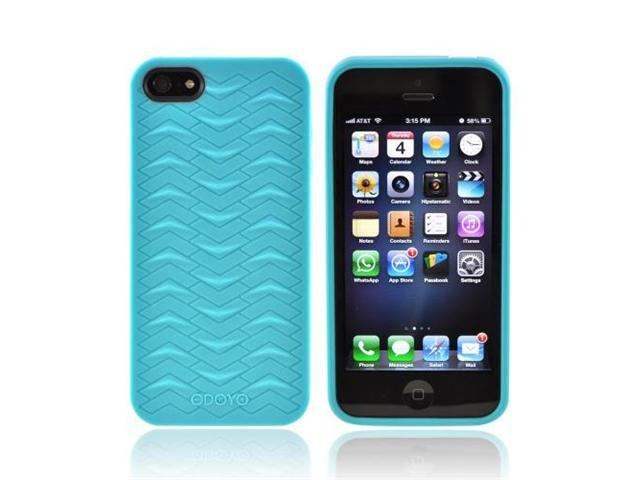 OEM Odoyo Shark Skin Collection Apple Iphone 5 Anti-slip Plastic Cover W/ Screen Protector Film Guard - Teal