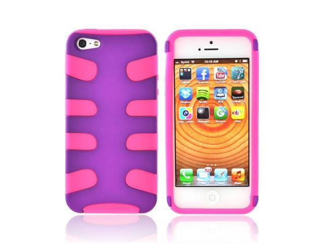 Apple Iphone 5 Rubberized Hard Fishbone On Rubbery Soft Silicone Skin Case - Purple/ Hot Pink
