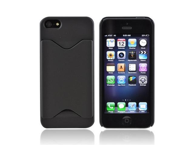 Apple Iphone 5 Rubberized Back Cover W/ ID Slot - Black