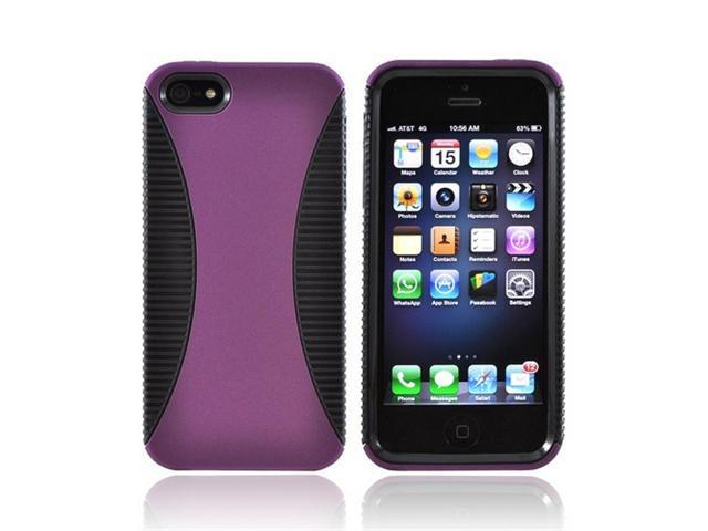Apple Iphone 5 Hard Back Over Crystal Rubbery Soft Silicone Skin Case - Purple/ Black