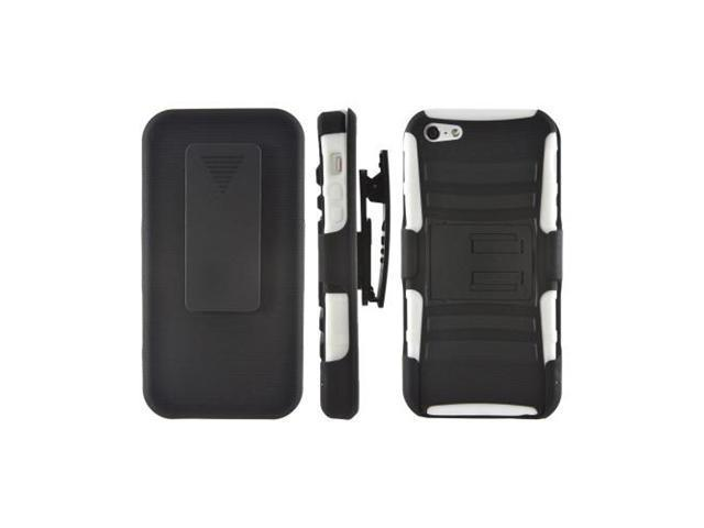 Apple Iphone 5 Rubberized Hard Cover Over Rubbery Soft Silicone Skin Case w/ Stand & Swivel Belt Clip - Black/ White