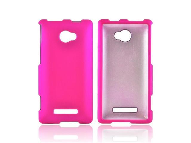 Hot Pink HTC 8x Rubberized Plastic Snap On Cover
