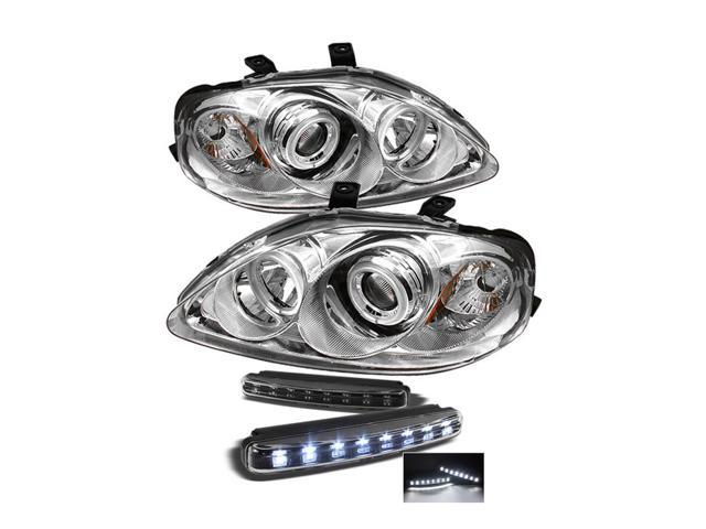 Honda Civic CCFL Halo Chrome Projector Headlights & LED Day Time Running Light Package