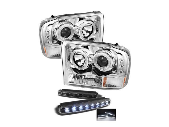 Ford F250 Super Duty / Ford Excursion 1PC CCFL LED ( Replaceable LEDs ) Chrome Projector Headlights G2 Version & LED Day ...