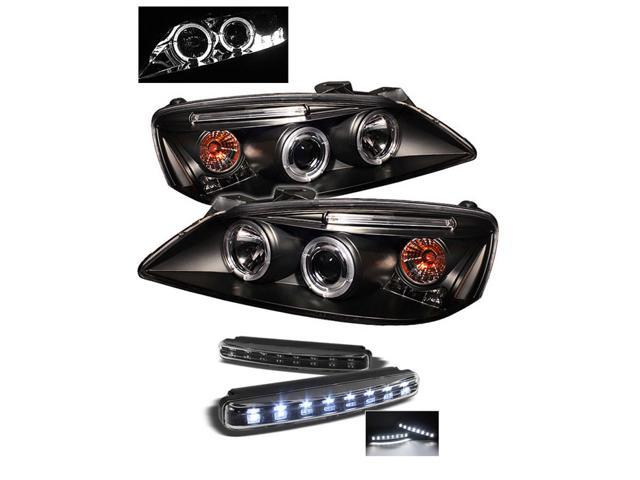 Pontiac G6 2/4DR Halo LED ( Replaceable LEDs ) Black Projector Headlights & LED Day Time Running Light Package