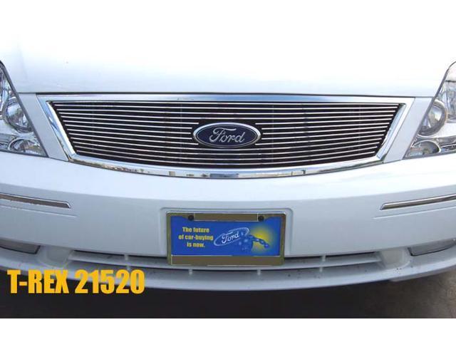 T-REX 2005-2007 Ford Five Hundred Sedan Billet Grille Overlay/Bolt On - W/ Logo Opening (13 Bars) POLISHED 21520