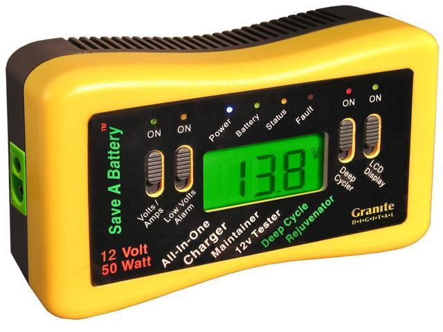 Granite Digital Save-A-Battery 9999 12 Volt 50 Watt Battery Charger Maintainer Tester w/Deep Cycle