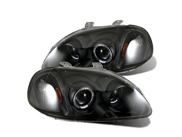 CG HONDA CIVIC 96-98 PROJECTOR HEADLIGHT HALO BLACK CLEAR AMBER 02-AZ-HC96-PBC-R-A PAIR