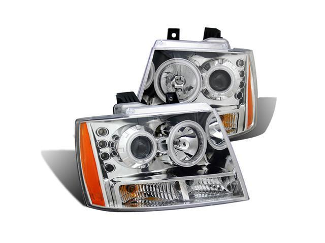 CG CHEVY TAHOE/SUBURBAN/AVALANCHE 07-UP PROJECTOR HEADLIGHT CHROME CLEAR AMBER(CCFL) 02-AZ-CTS07-PCC-RF-A PAIR